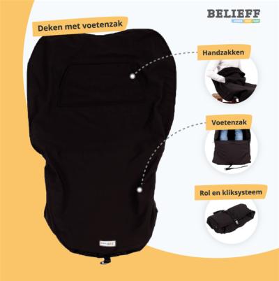 Belieff -Rolstoel deken met voetenzak - Uitleg